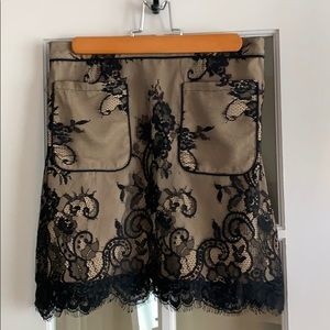 Abercrombie nude and black lace skirt